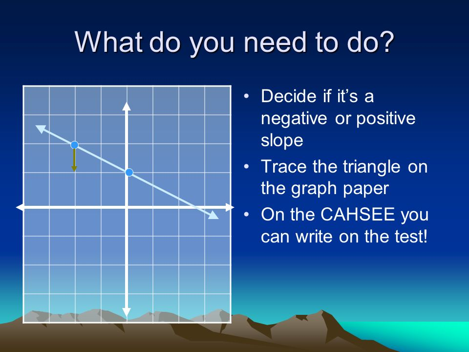 What do you need to do? Decide if its a negative or positive slope Trace the triangle on the graph paper On the CAHSEE you can write on the test!