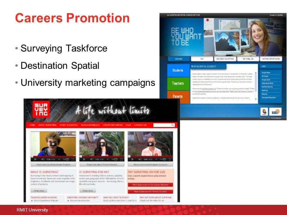 RMIT University Careers Promotion Surveying Taskforce Destination Spatial University marketing campaigns