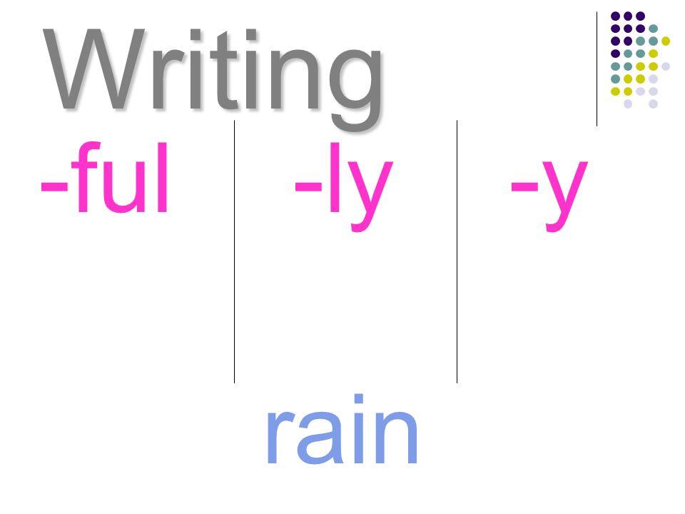 Writing rain -ful-ly-y