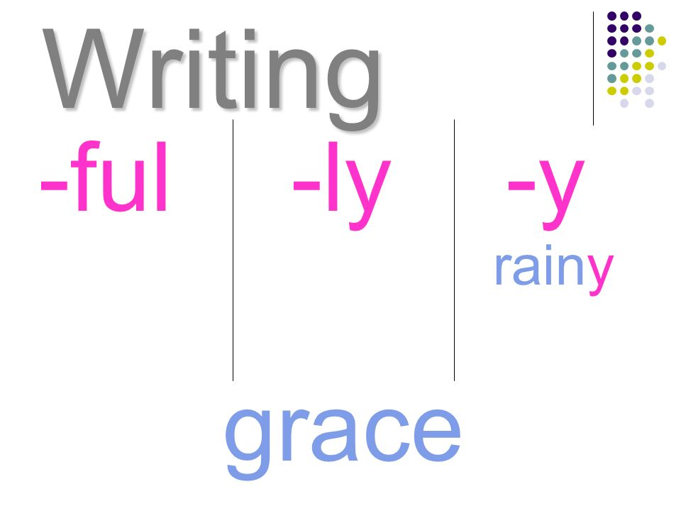 Writing grace -ful-ly-y rainy