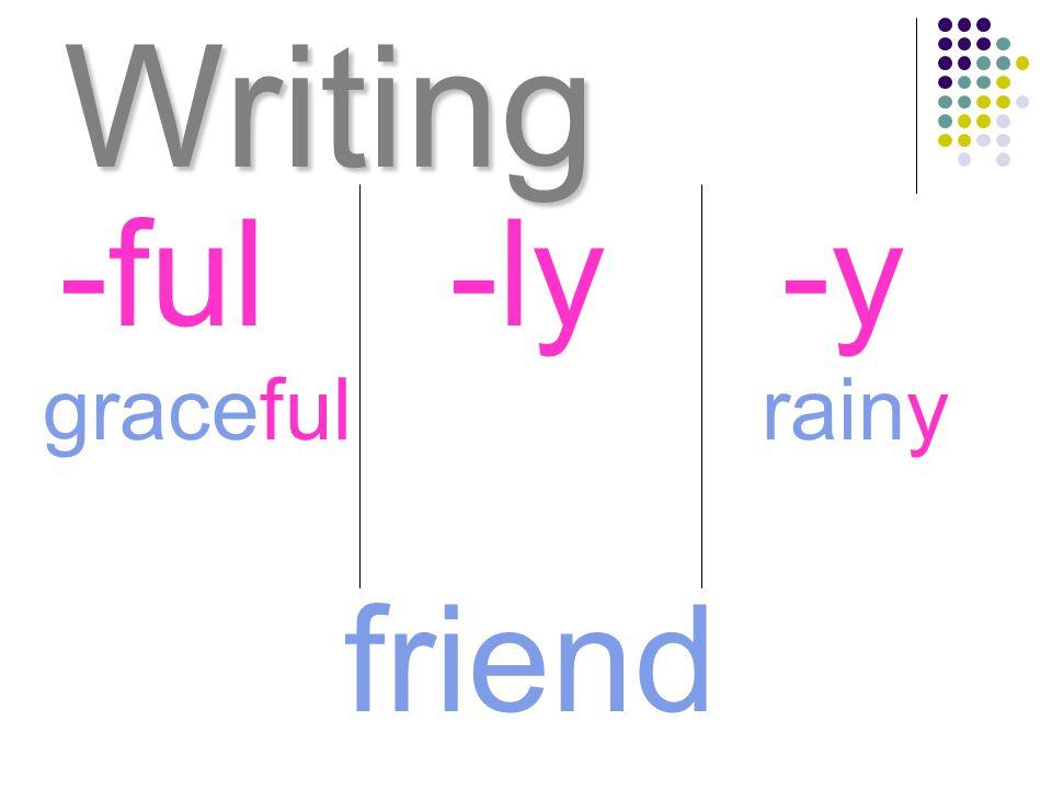 Writing graceful -ful-ly-y rainy friend