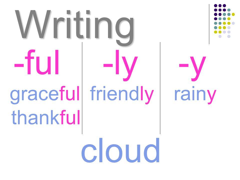 Writing graceful -ful-ly-y rainyfriendly thankful cloud