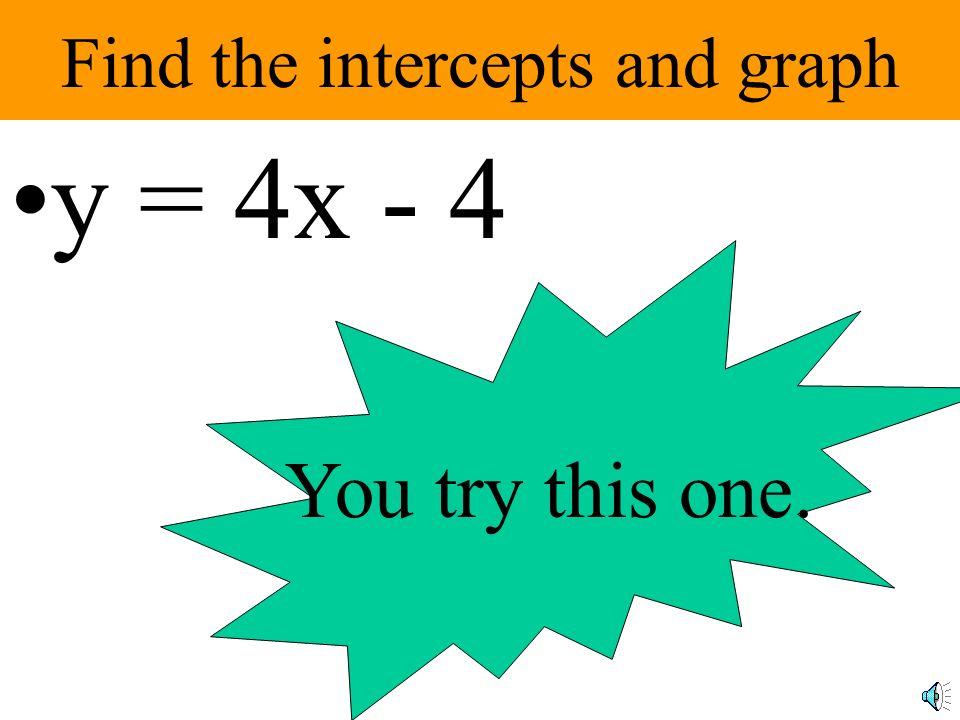 The graph of 3x + 4y = 12 x-intercept = (4,0) y-intercept =(0, 3)