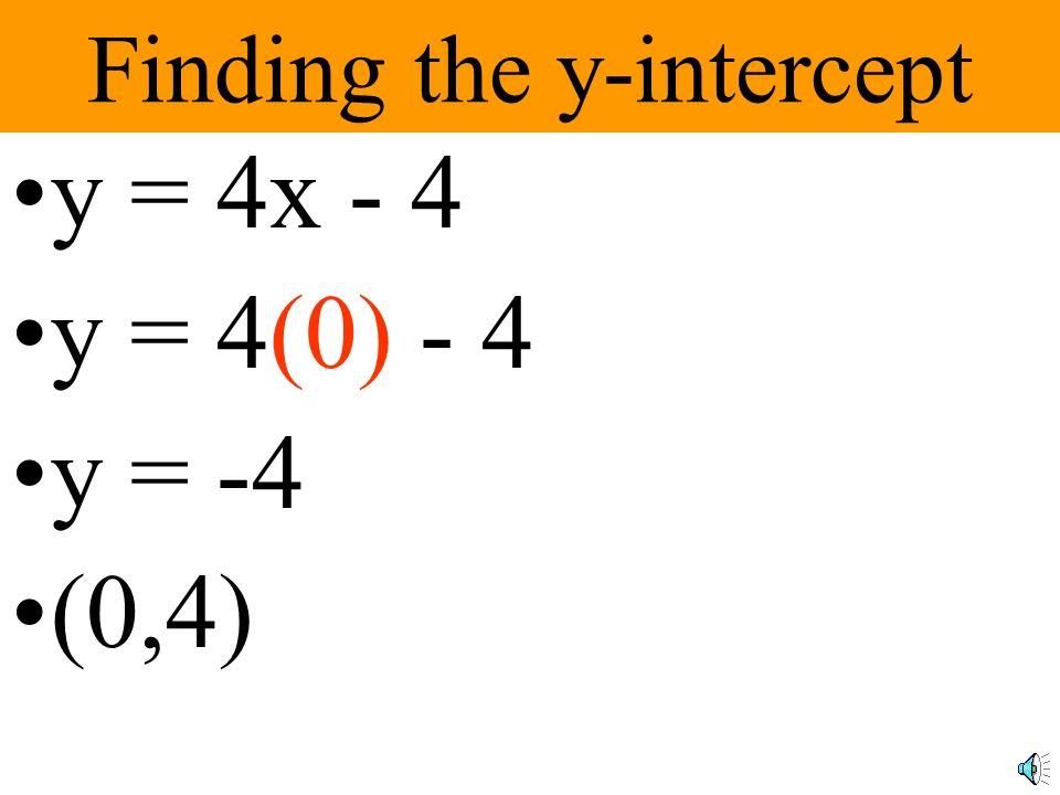 Finding the x-intercept y = 4x - 4 0 = 4x - 4 0 + 4 = 4x -4 + 4 4 = 4x 1 = x (1,0)