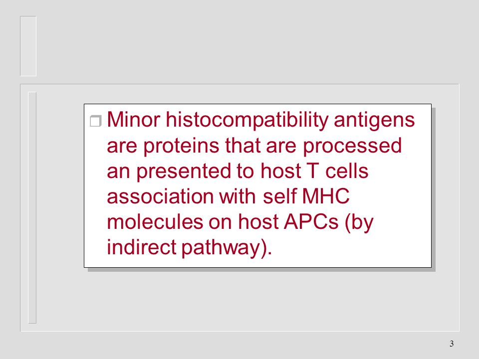 3 Minor histocompatibility antigens are proteins that are processed an presented to host T cells association with self MHC molecules on host APCs (by