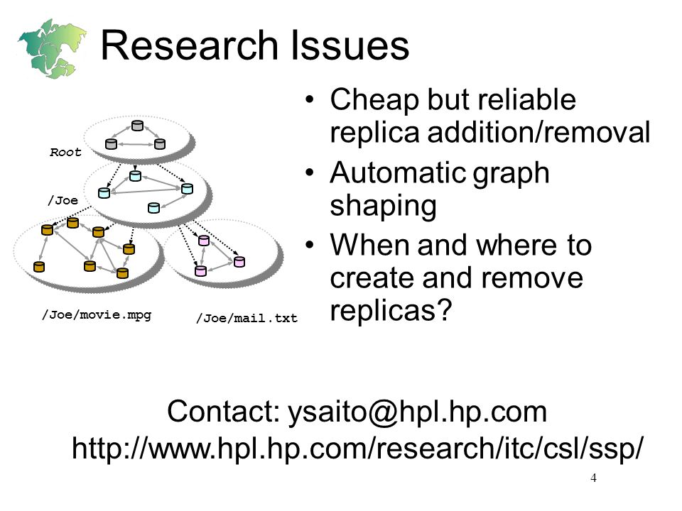 4 Research Issues Cheap but reliable replica addition/removal Automatic graph shaping When and where to create and remove replicas? /Joe/movie.mpg /Jo