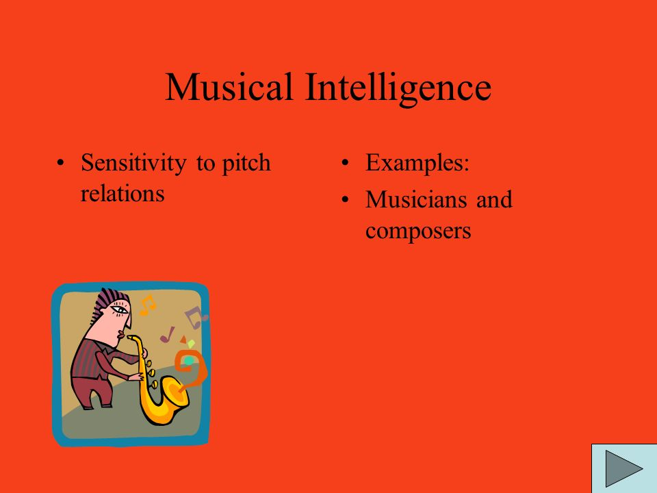 Spatial Intelligence The ability to form a mental model of a spatial world and be able to maneuver and operate using that model. Examples: Sailors, en