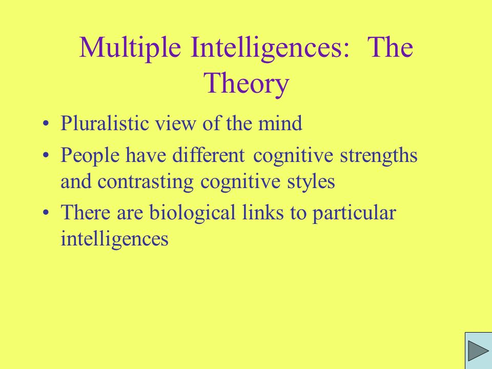 Table of Contents The Theory What is an Intelligence? Linguistic Intelligence Linguistic Examples Intrapersonal Intelligence Logical-Mathematical Inte