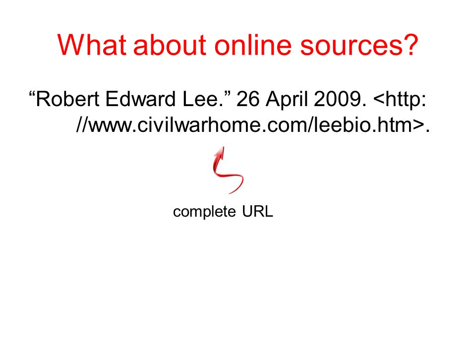 What about online sources? Robert Edward Lee. 26 April 2009. date website was accessed