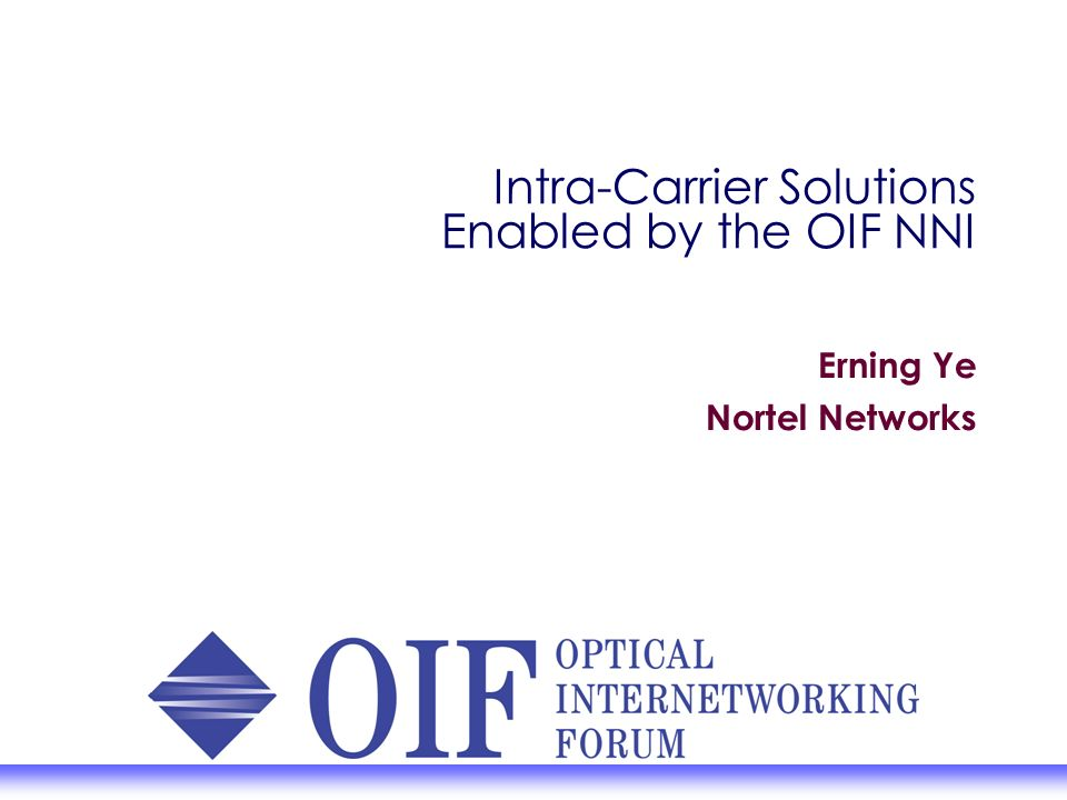 Intra-Carrier Solutions Enabled by the OIF NNI Erning Ye Nortel Networks
