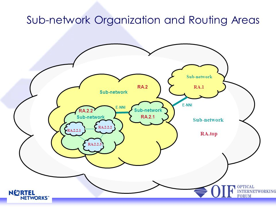 Sub-network Organization and Routing Areas Sub-network E-NNI Sub-network E-NNI Sub-network RA.1 RA.2 RA.top RA.2.2 RA.2.1 RA.2.2.2 RA.2.2.1 RA.2.2.3