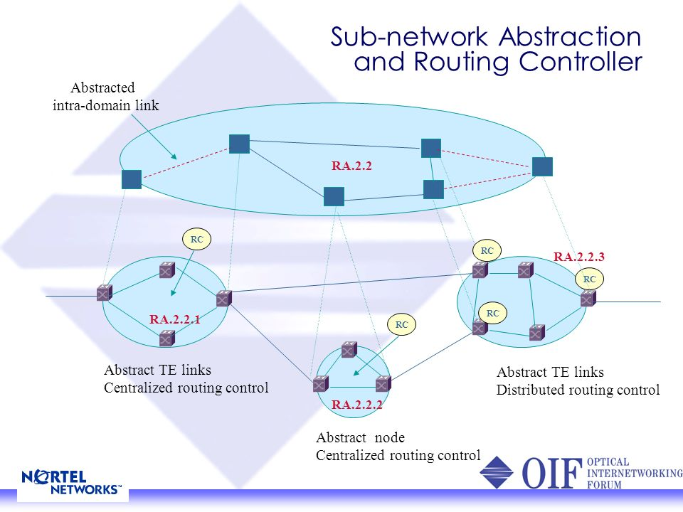 NNI Routing Separation of transport plane and control plane: Separated address space for routing controller and transport nodes Separated topology for routing controller and transport nodes Routing control could be centralized or distributed.