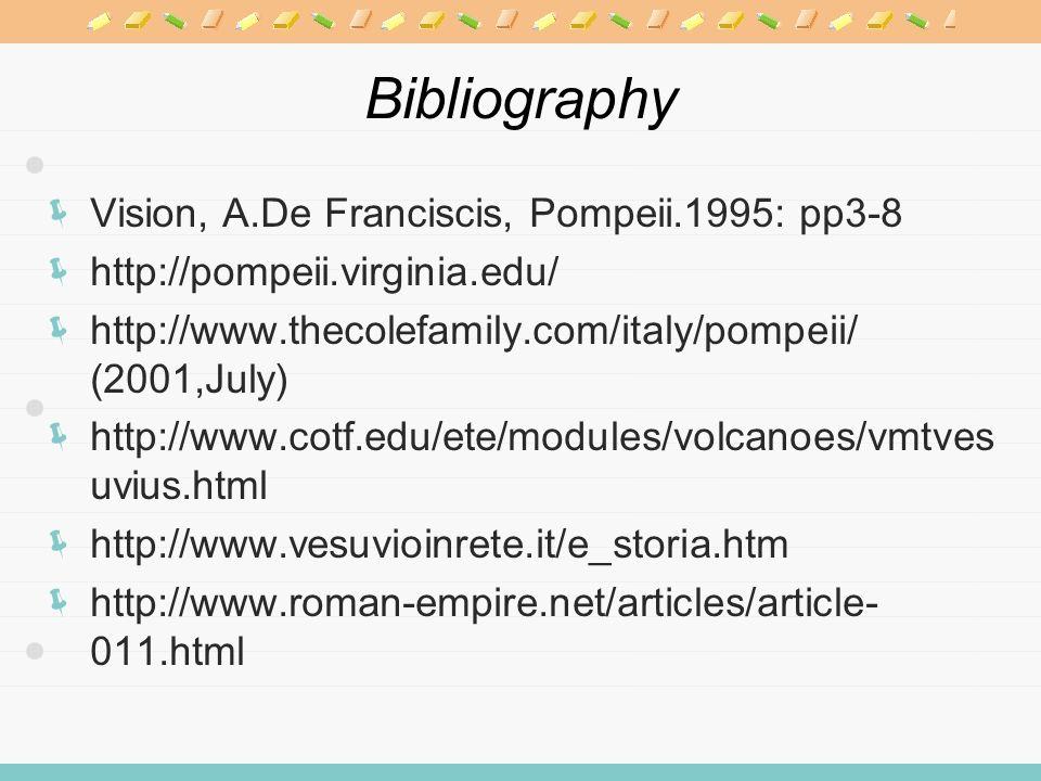 Bibliography Vision, A.De Franciscis, Pompeii.1995: pp3-8 http://pompeii.virginia.edu/ http://www.thecolefamily.com/italy/pompeii/ (2001,July) http://www.cotf.edu/ete/modules/volcanoes/vmtves uvius.html http://www.vesuvioinrete.it/e_storia.htm http://www.roman-empire.net/articles/article- 011.html