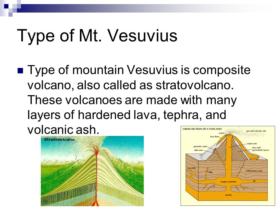 Type of Mt. Vesuvius Type of mountain Vesuvius is composite volcano, also called as stratovolcano. These volcanoes are made with many layers of harden