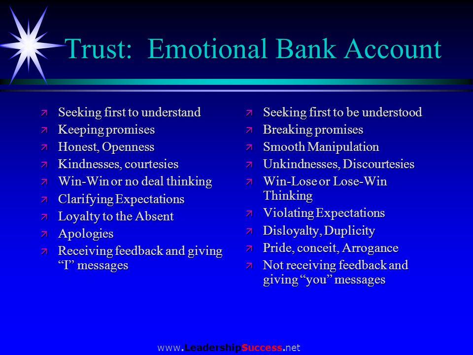 www.LeadershipSuccess.net Trust: Emotional Bank Account ä Seeking first to understand ä Keeping promises ä Honest, Openness ä Kindnesses, courtesies ä