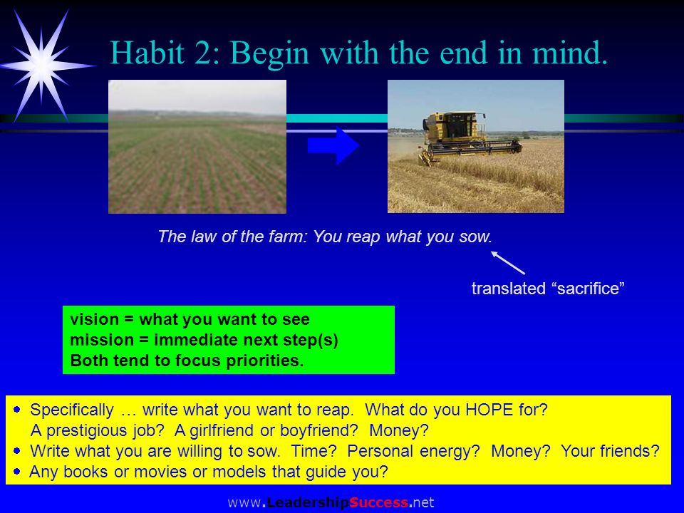 www.LeadershipSuccess.net Habit 2: Begin with the end in mind. Specifically … write what you want to reap. What do you HOPE for? A prestigious job? A