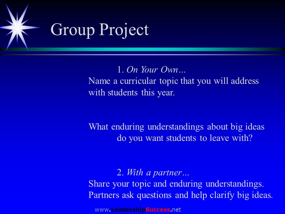 www.LeadershipSuccess.net 1. On Your Own… Name a curricular topic that you will address with students this year. What enduring understandings about bi