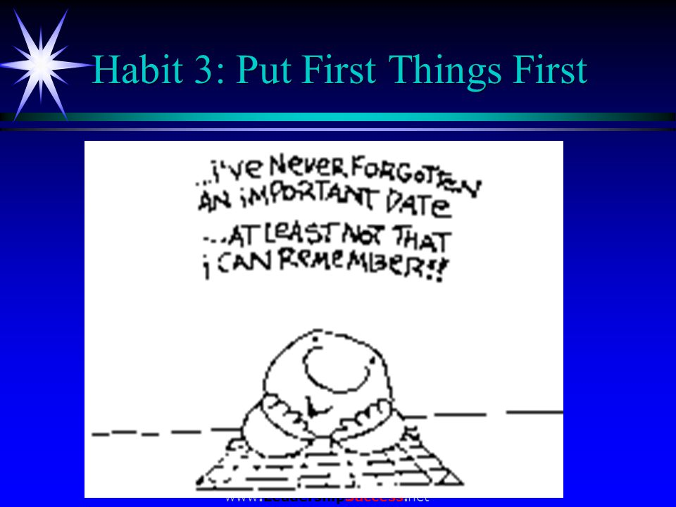 www.LeadershipSuccess.net Habit 3: Put First Things First