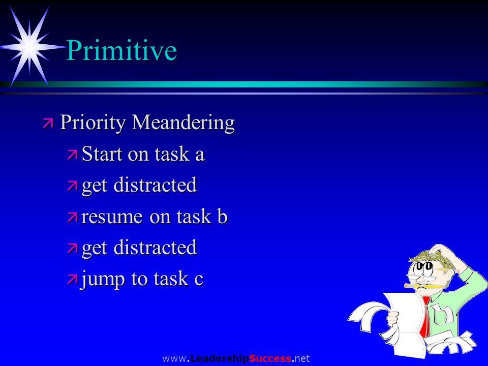 www.LeadershipSuccess.net Primitive ä Priority Meandering ä Start on task a ä get distracted ä resume on task b ä get distracted ä jump to task c