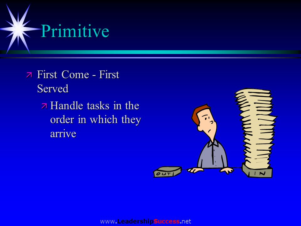 www.LeadershipSuccess.net Primitive ä First Come - First Served ä Handle tasks in the order in which they arrive