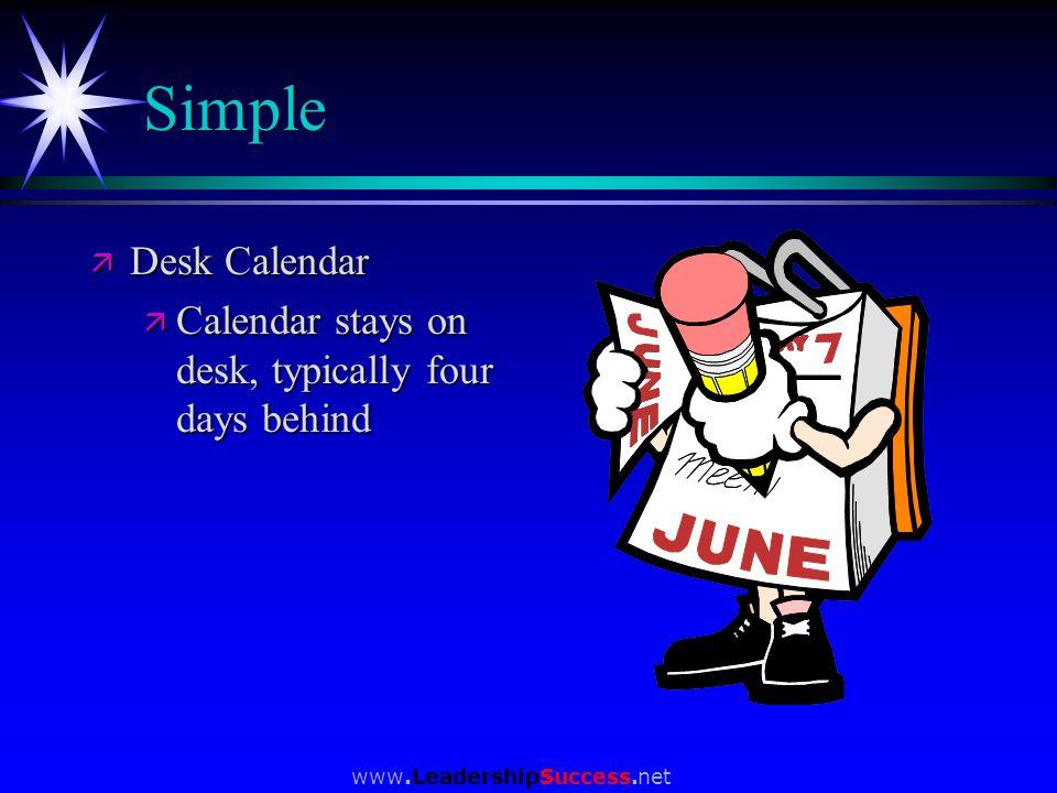 www.LeadershipSuccess.net Simple ä Desk Calendar ä Calendar stays on desk, typically four days behind