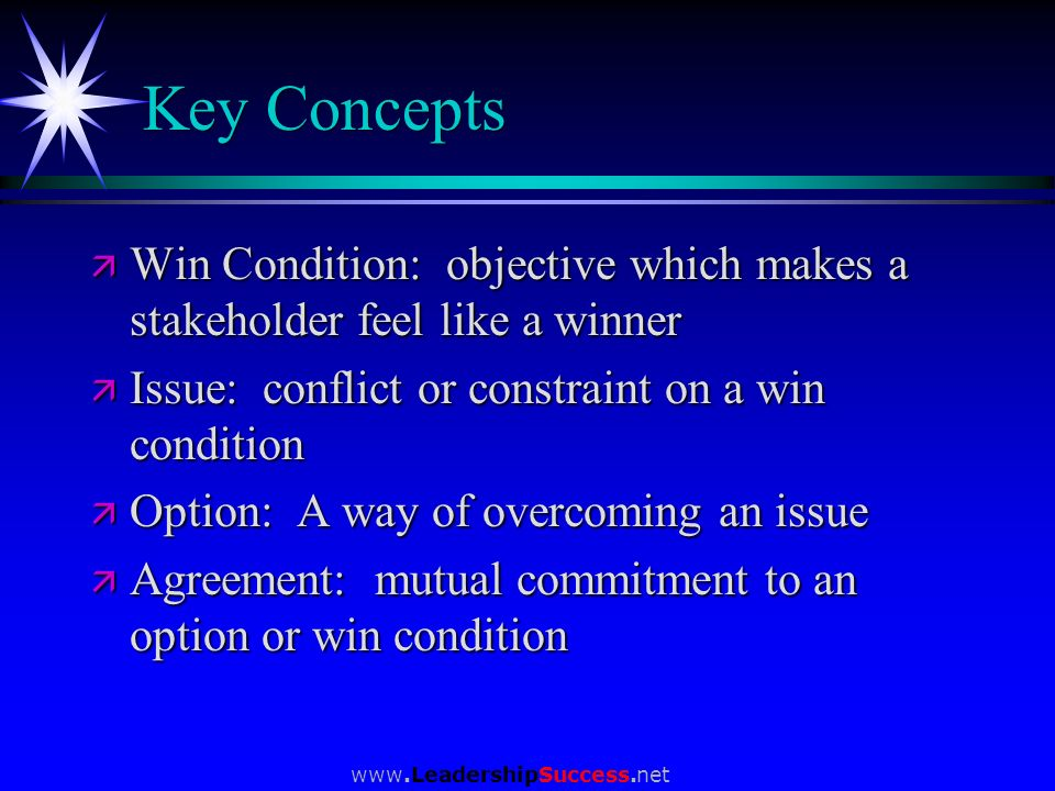 www.LeadershipSuccess.net Key Concepts ä Win Condition: objective which makes a stakeholder feel like a winner ä Issue: conflict or constraint on a wi