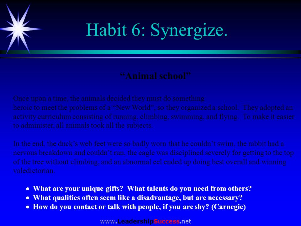 www.LeadershipSuccess.net Habit 6: Synergize. Animal school Once upon a time, the animals decided they must do something heroic to meet the problems o