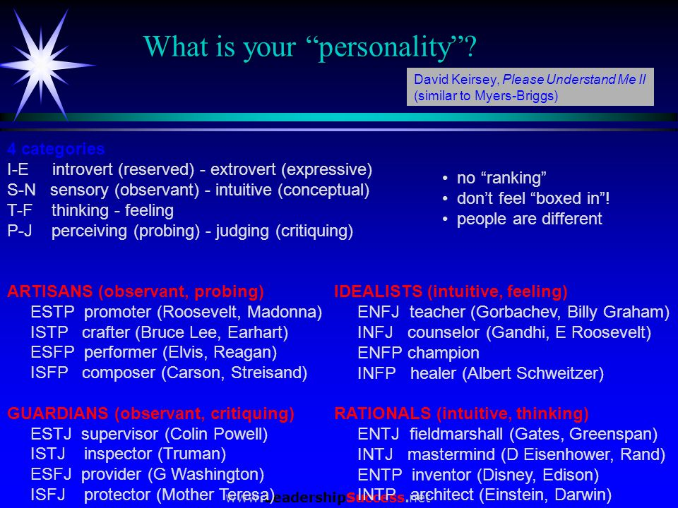 www.LeadershipSuccess.net What is your personality? 4 categories I-E introvert (reserved) - extrovert (expressive) S-N sensory (observant) - intuitive