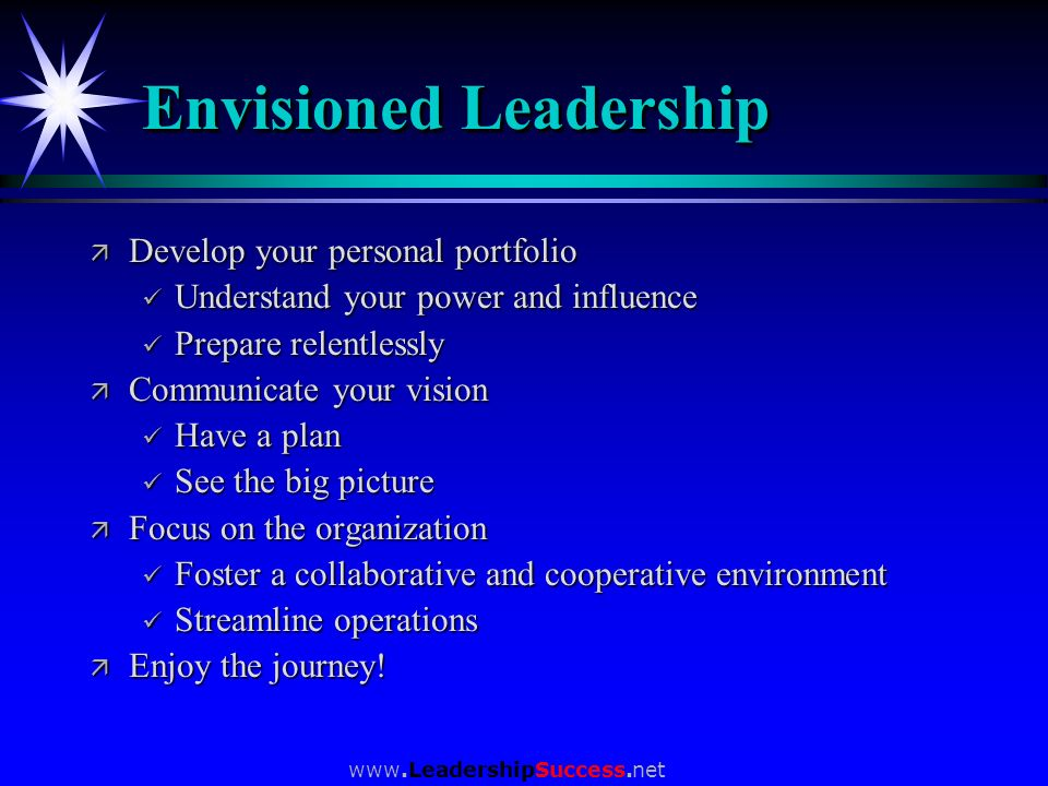 www.LeadershipSuccess.net Envisioned Leadership ä Develop your personal portfolio Understand your power and influence Understand your power and influe