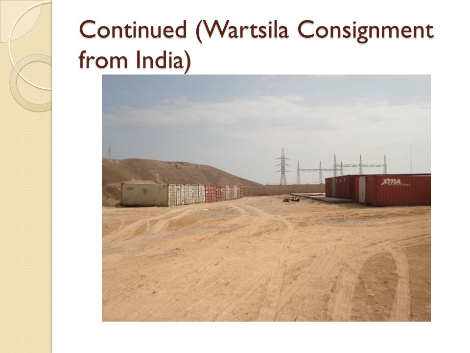 Continued (Wartsila Consignment from India)