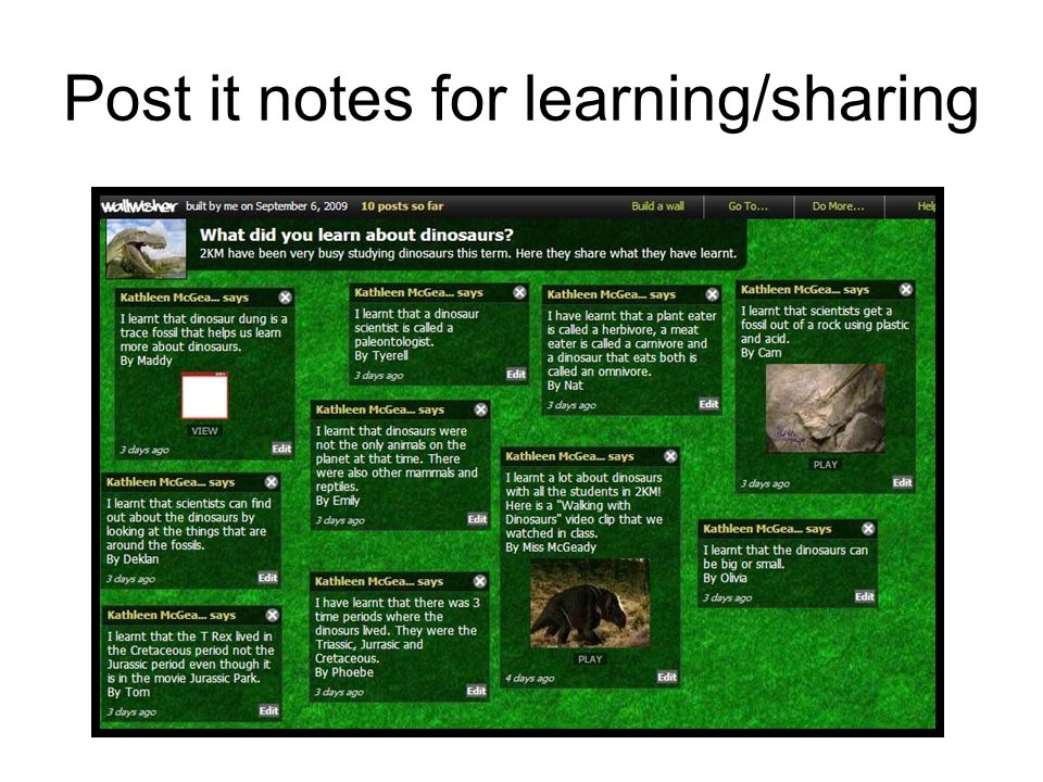 Post it notes for learning/sharing