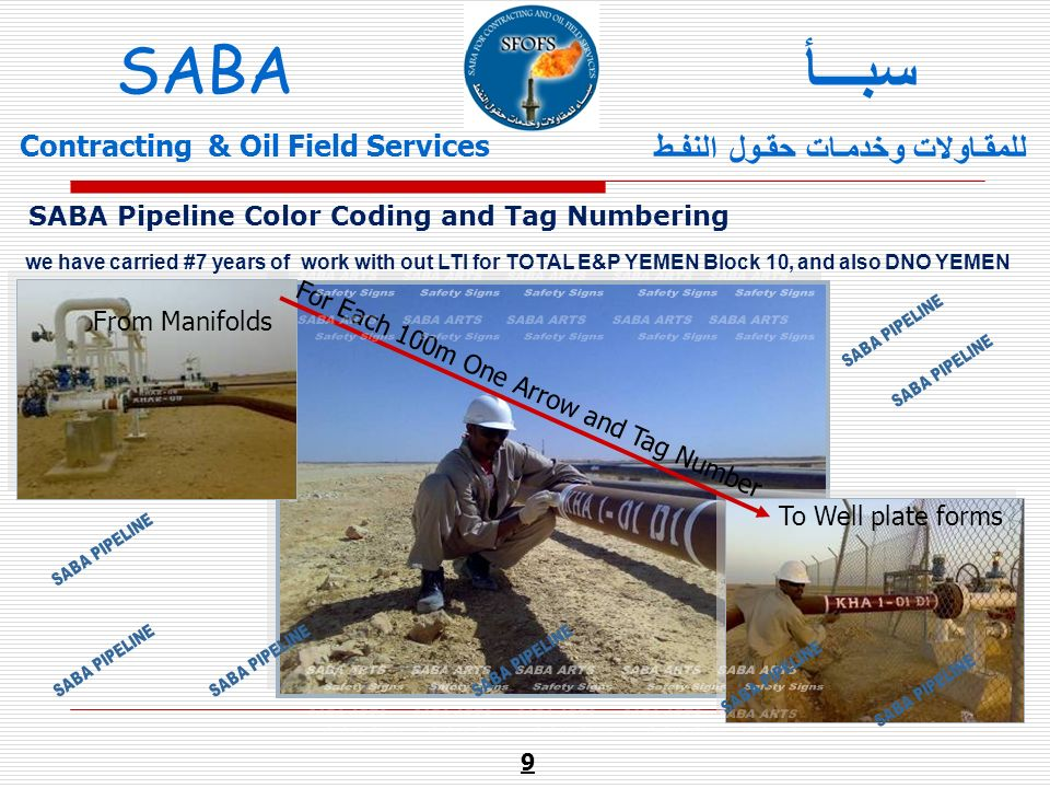 From Manifolds To Well plate forms For Each 100m One Arrow and Tag Number we have carried #7 years of work with out LTI for TOTAL E&P YEMEN Block 10,