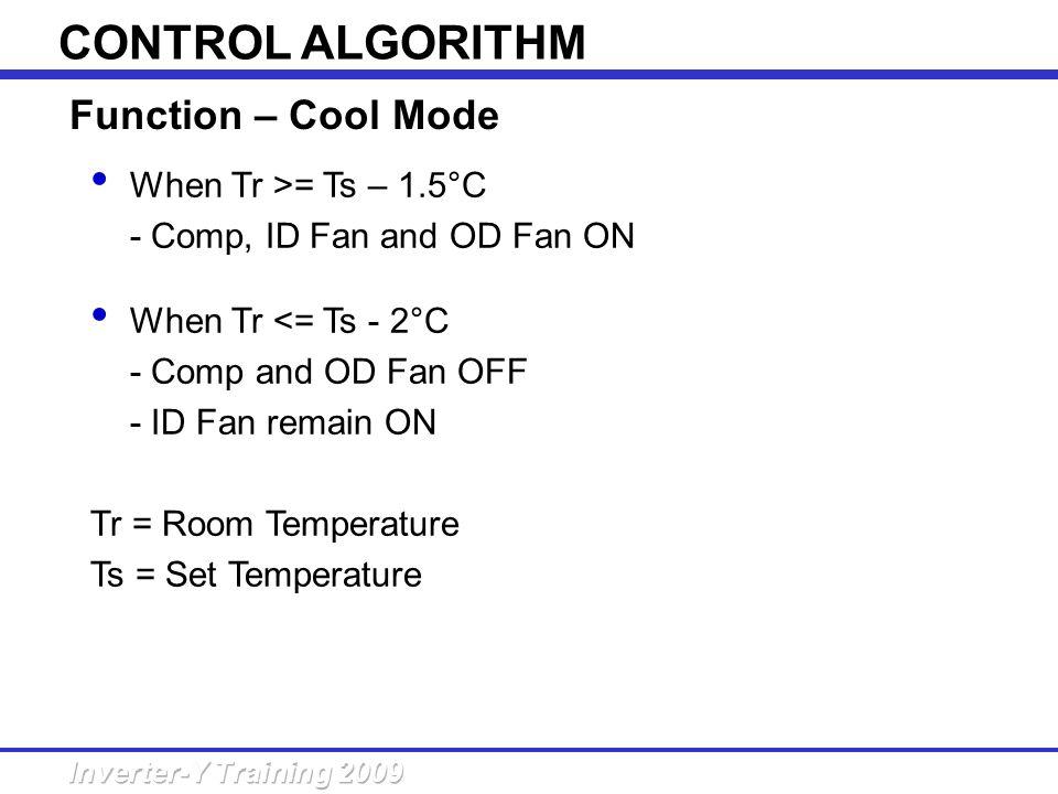 When Tr >= Ts – 1.5°C - Comp, ID Fan and OD Fan ON When Tr <= Ts - 2°C - Comp and OD Fan OFF - ID Fan remain ON Tr = Room Temperature Ts = Set Tempera