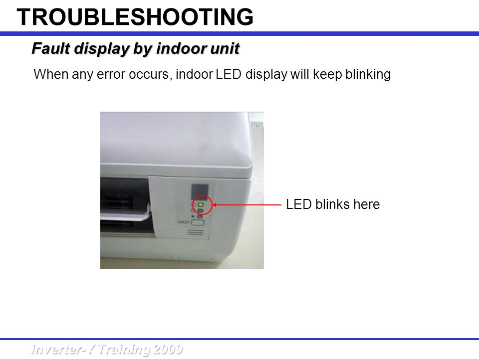 When any error occurs, indoor LED display will keep blinking Fault display by indoor unit LED blinks here