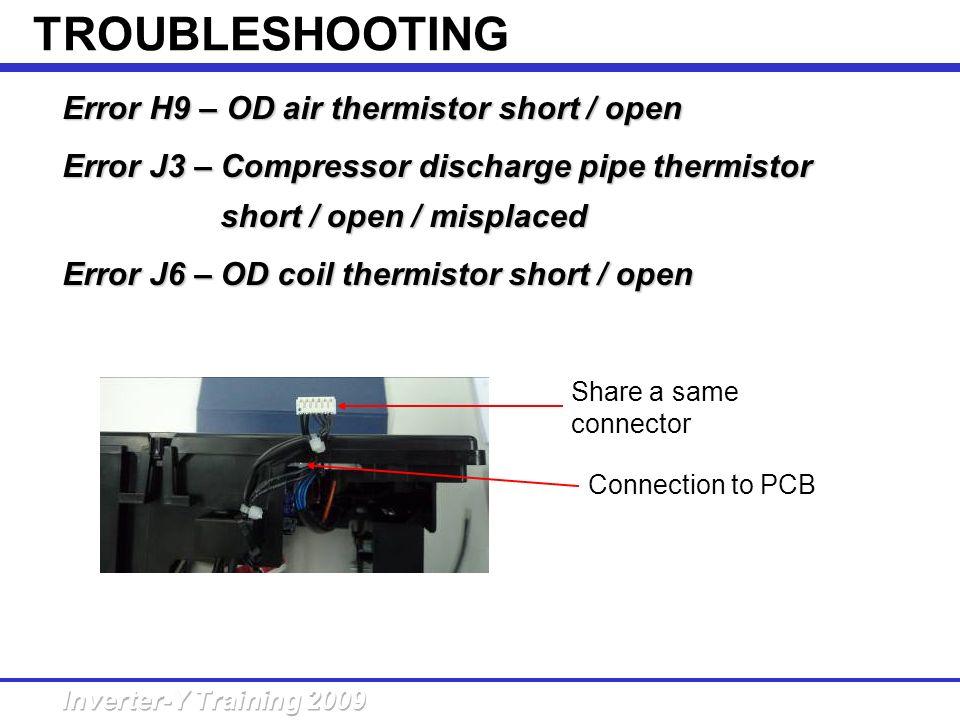 Error H9 – OD air thermistor short /open Error H9 – OD air thermistor short / open Error J3 – Compressor discharge pipe thermistor short /open / mispl