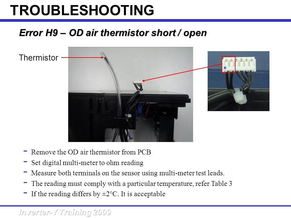 Error H9 – OD air thermistor short /open Error H9 – OD air thermistor short / open - Remove the OD air thermistor from PCB - Set digital multi-meter t