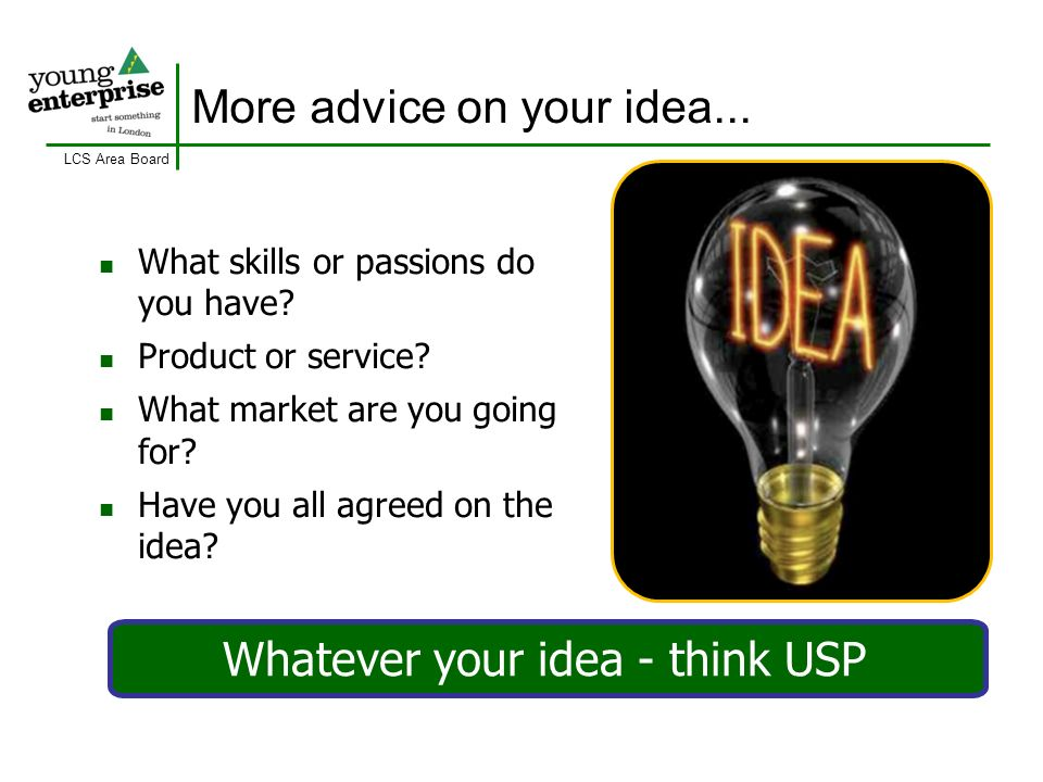 LCS Area Board More advice on your idea...