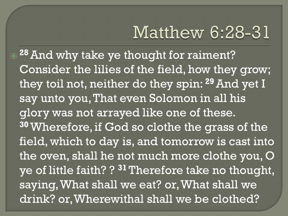 28 And why take ye thought for raiment? Consider the lilies of the field, how they grow; they toil not, neither do they spin: 29 And yet I say unto yo