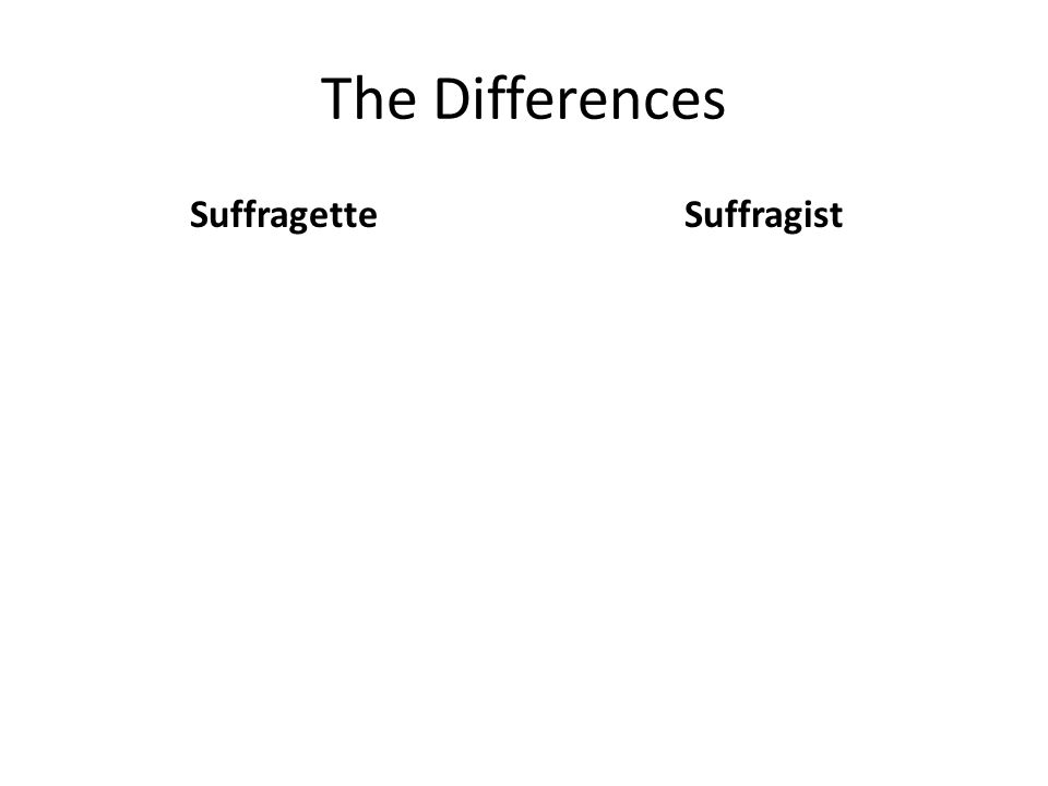 The Differences SuffragetteSuffragist