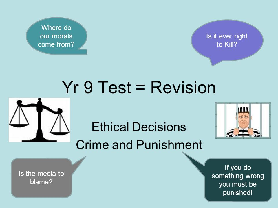 Yr 9 Test = Revision Ethical Decisions Crime and Punishment Where do our morals come from? Is it ever right to Kill? Is the media to blame? If you do