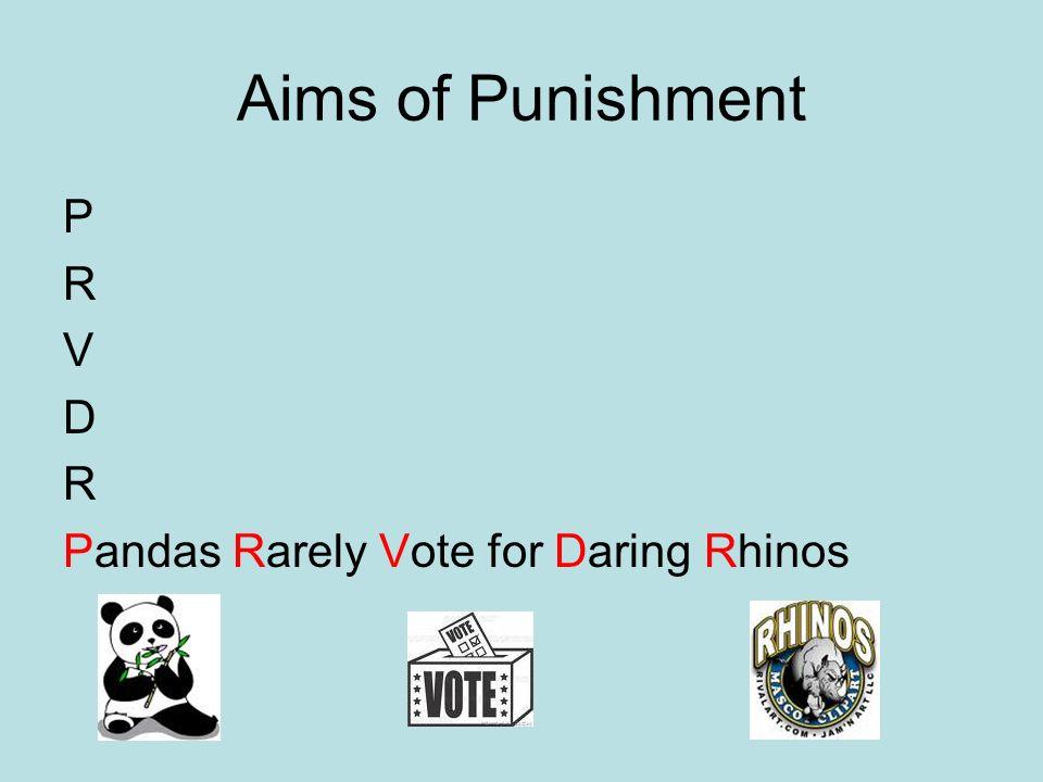 Aims of Punishment P R V D R Pandas Rarely Vote for Daring Rhinos