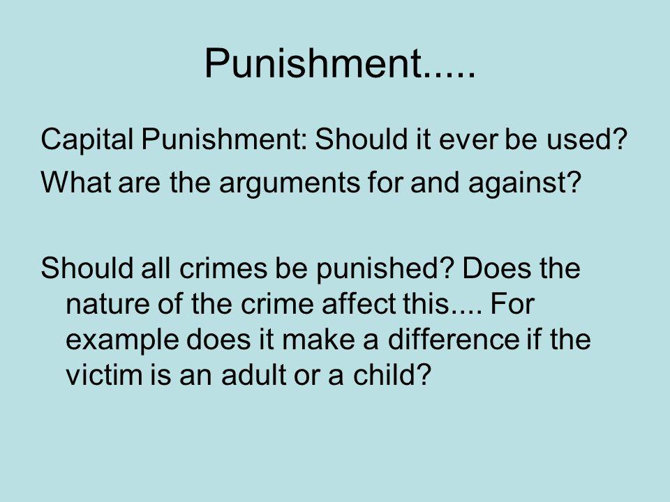 Punishment..... Capital Punishment: Should it ever be used.