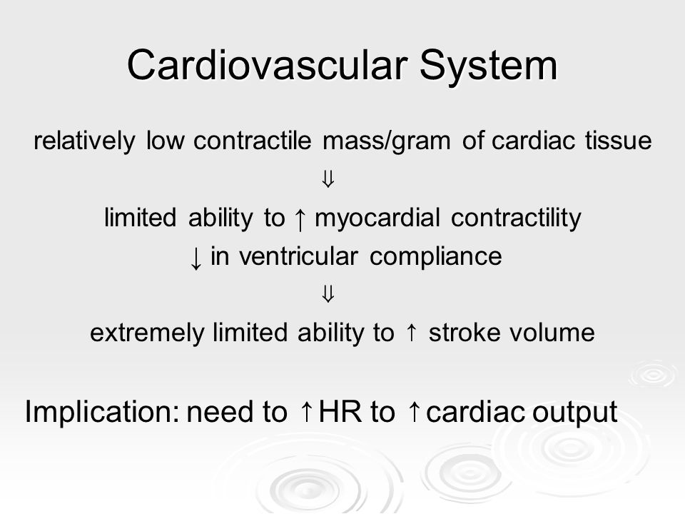 Cardiovascular System relatively low contractile mass/gram of cardiac tissue limited ability to myocardial contractility in ventricular compliance ext