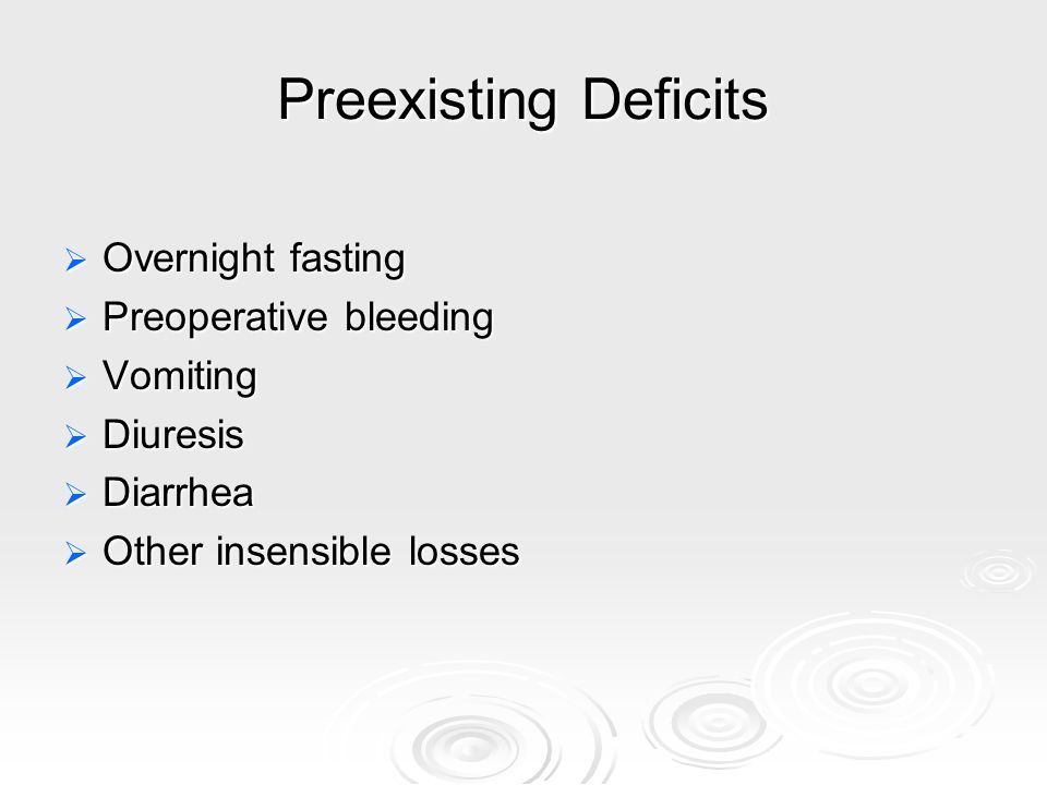 Preexisting Deficits Overnight fasting Overnight fasting Preoperative bleeding Preoperative bleeding Vomiting Vomiting Diuresis Diuresis Diarrhea Diar