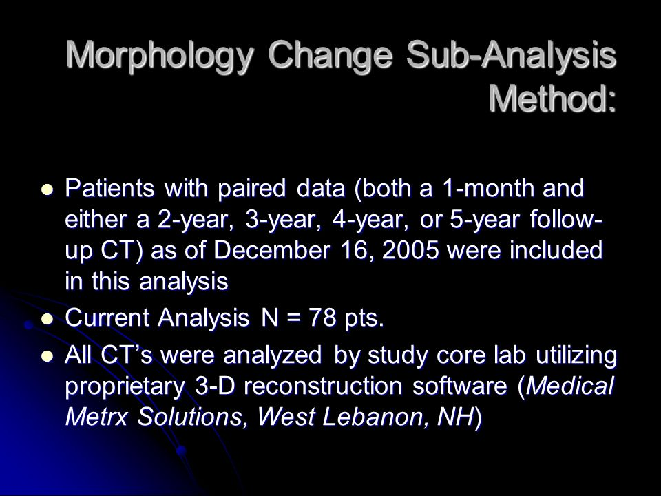 Morphology Change Sub-Analysis Method: Patients with paired data (both a 1-month and either a 2-year, 3-year, 4-year, or 5-year follow- up CT) as of December 16, 2005 were included in this analysis Patients with paired data (both a 1-month and either a 2-year, 3-year, 4-year, or 5-year follow- up CT) as of December 16, 2005 were included in this analysis Current Analysis N = 78 pts.