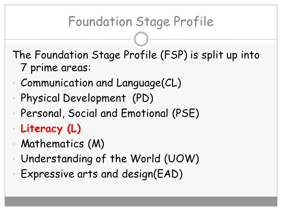 Foundation Stage Profile The Foundation Stage Profile (FSP) is split up into 7 prime areas: Communication and Language(CL) Physical Development (PD) P