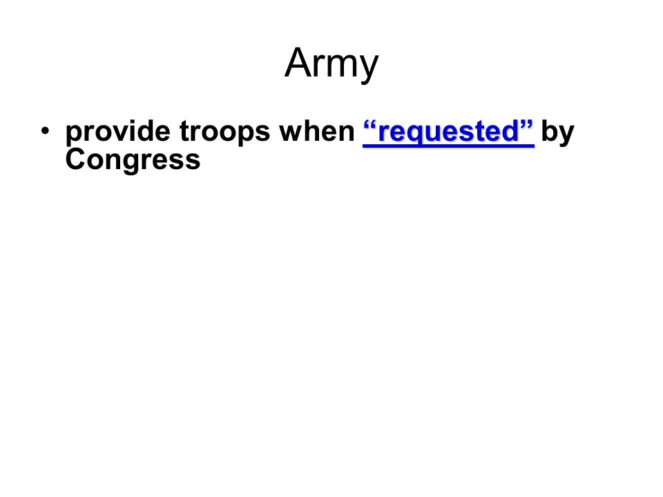 Army requestedprovide troops when requested by Congress