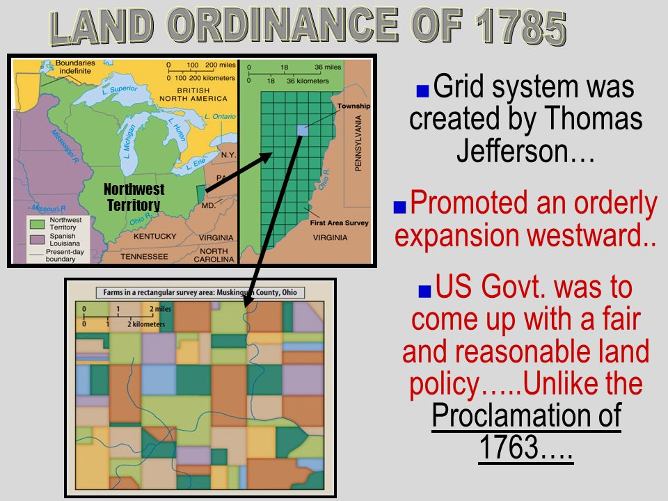 Grid system was created by Thomas Jefferson… Promoted an orderly expansion westward.. US Govt. was to come up with a fair and reasonable land policy….