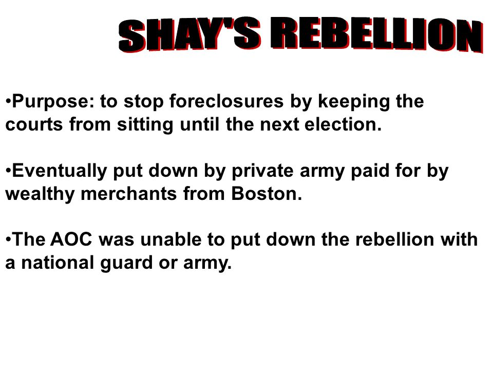 Purpose: to stop foreclosures by keeping the courts from sitting until the next election. Eventually put down by private army paid for by wealthy merc