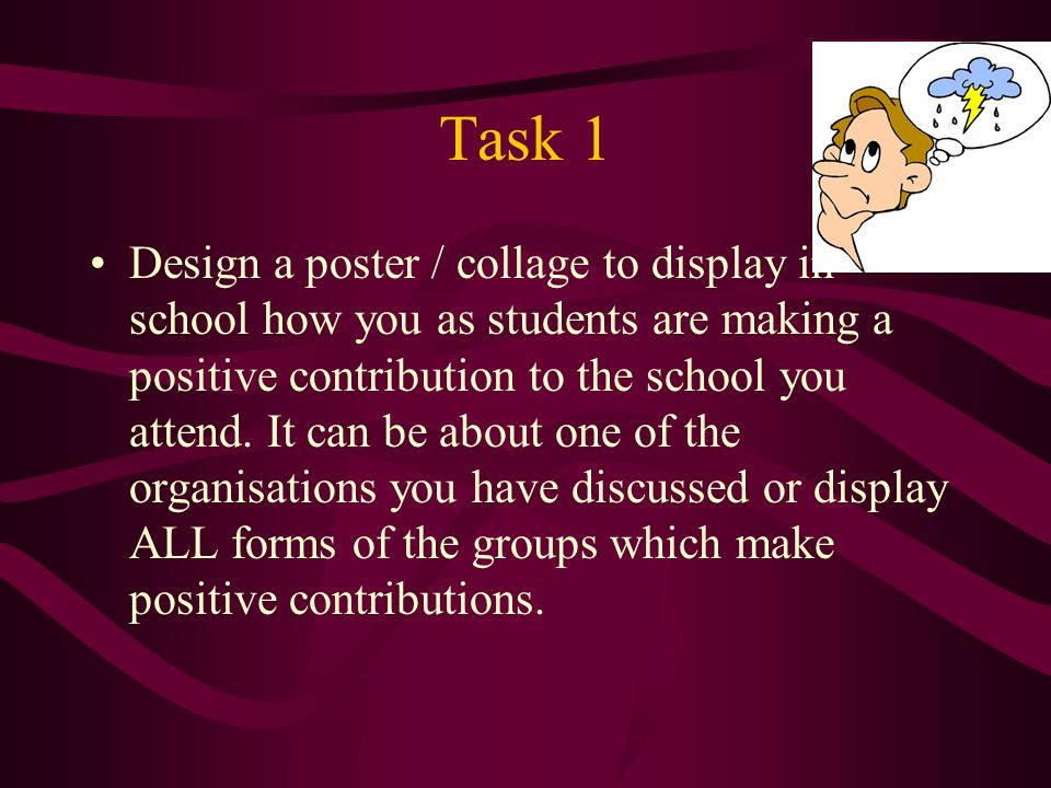 Task 1 Design a poster / collage to display in school how you as students are making a positive contribution to the school you attend.